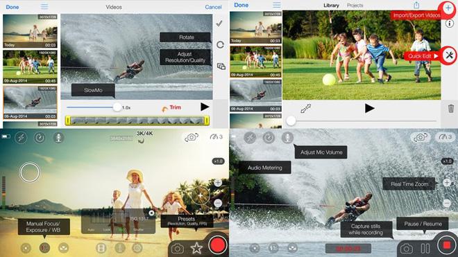 ứng dụng moviepro để chỉnh sửa video và hỗ trợ quay video 4k