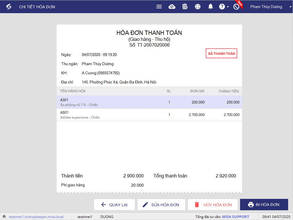 phần mềm in bill